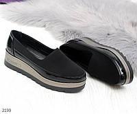 Модные текстильные туфли на утолщенной подошве