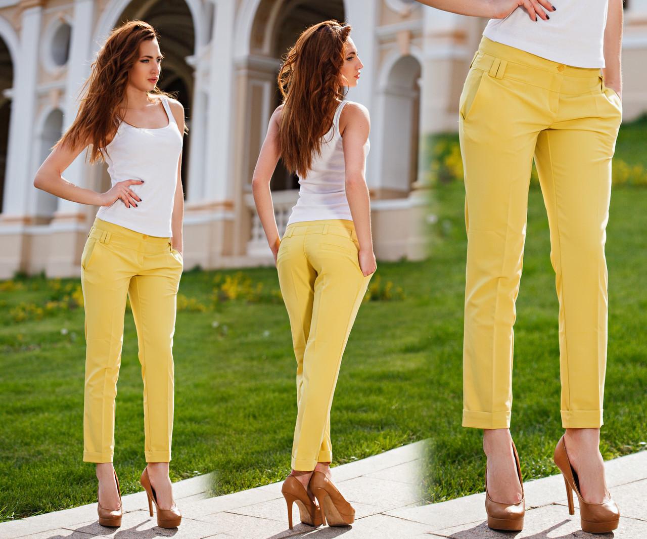 """Летние стильные женские брюки до больших размеров В-76 """"Тиар Чинос Подворот"""" в расцветках - """"Пальмира"""" - прямой поставщик модной одежды оптом и в розницу от производителя в Одессе"""