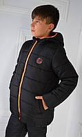 """Теплая зимняя куртка для мальчика """"Стив"""" черного цвета. Размеры  122, 128, 134, 140."""