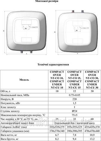 NOVA TEC COMPACT UNDER NT-CU-15 БОЙЛЕР (ВОДОНАГРЕВАТЕЛЬ 15 ЛИТРОВ), фото 2