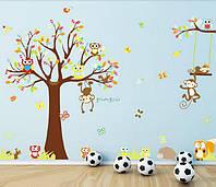 """Наклейка на стену в детскую комнату """"Дерево дружбы"""" 150см*245см (4 листа 30см*90см)"""