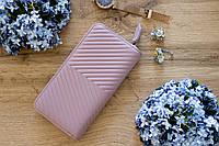Кожаный женский клатч-кошелек / Женский клатч из натуральной кожи пудра/нежно-розовый