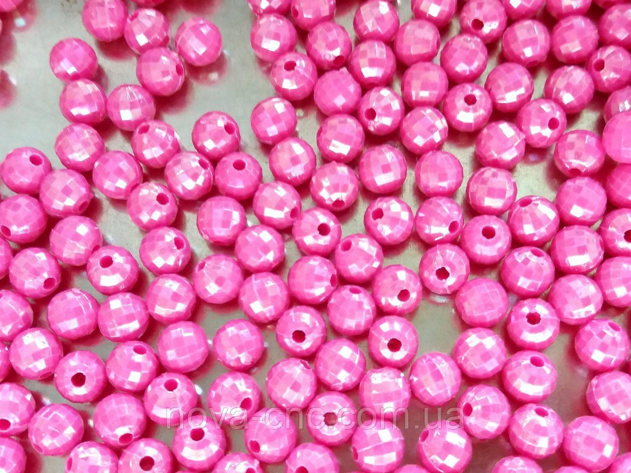 """Намистини """"міні диско"""" темно рожевий 6 мм 500 грам"""