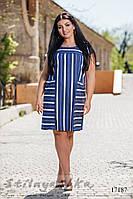 Джинсовое легкое платье для полных синее, фото 1