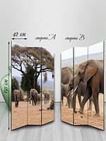 Ширма двусторонняя деревянная, Семья слонов