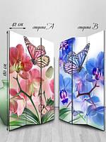 Ширма двусторонняя, Бабочки на цветах