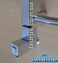 """Дизайнерський квадратний кран кутовий Sergio Ottinetti Cube chrome (Італія) для рушникосушок. 1/2"""" хром"""