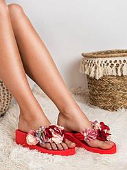 Женские вьетнамки Италия букет цветы Red красные танкетка  36 -40 хит 2019!
