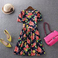 Летнее платье крупный цветочный принт, фото 1