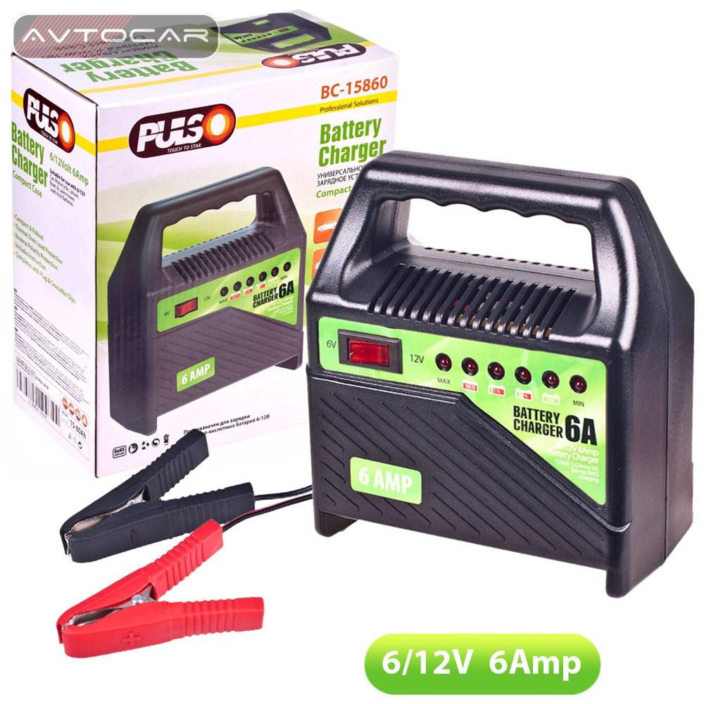 Зарядное устройство PULSO 6-12V 6A 15-80AHR светодиодная индикация, BC-15860