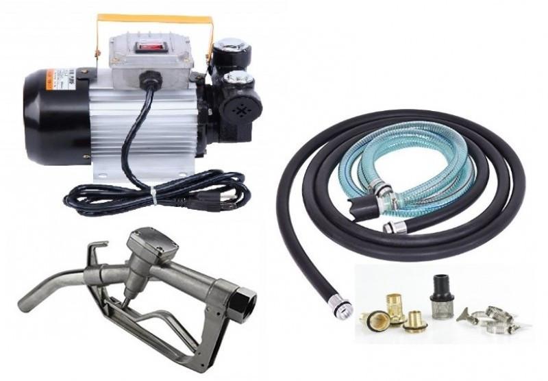 Установка для перекачки дизеля REWOLT SL001B-220V (насос, топливный пистолет, шланги) 60л/мин