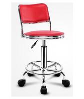 Стул для мастера маникюра , педикюра или парикмахера со спинкой красный
