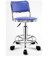 Стул для мастера маникюра , педикюра или парикмахера со спинкой синий