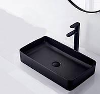Черная  матовая раковина Rea Denis Black Mat 61 см