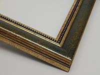 Рамка А2(420х594).Для картин,плакатов,фото...30ммАнтичное золото с зеленой вставкой