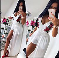 Комбинезон женский нарядный в белом, черном цвете