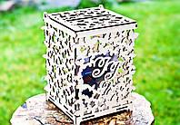 Свадебная Казна для Денег с ИНИЦИАЛАМИ Деревянная коробка копилка на свадьбу Весільна скарбниця для грошей, фото 1