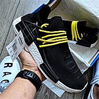 Мужские кроссовки Adidas NMD Pharrell Williams x  'Human Race' Core Black черные. Живое фото (Реплика ААА+)