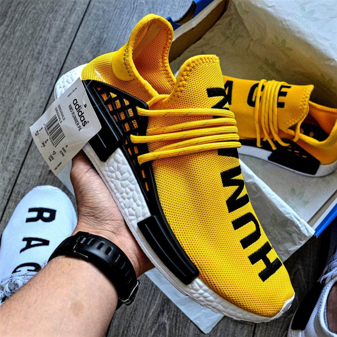 Мужские кроссовки Adidas NMD Pharrell Williams x  'Human Race' Yellow. B Живое фото (Реплика ААА+)