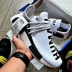 Мужские кроссовки Adidas NMD Pharrell Williams x  'Human Race' White белые летние. B Живое фото (Реплика ААА+)