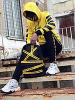 Спортивный костюм мужской в стиле OFF WHITE black-yellow / ЛЮКС