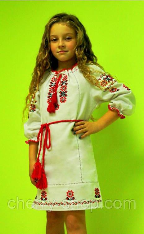 Детское платье из серого льна