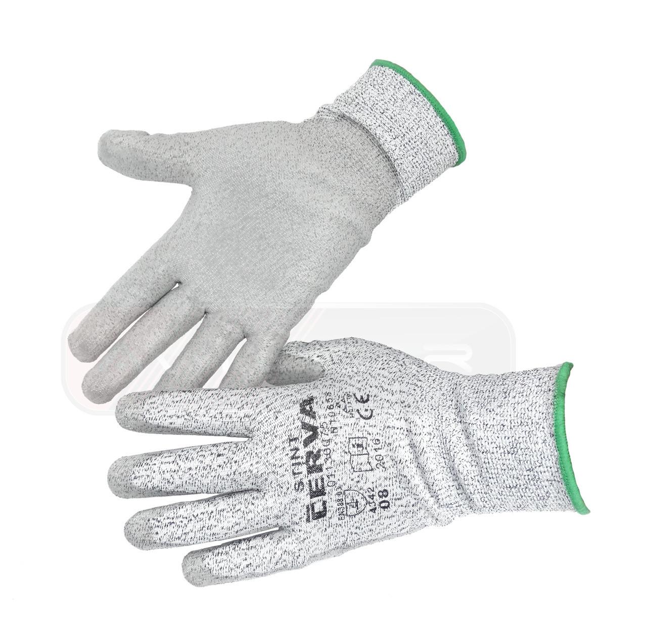 Перчатки Cerva Stint вязаные, защита от порезов, цвет: белый