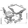 Комплект парта + стул трансформеры Vivo Grey FUNDESK, фото 3