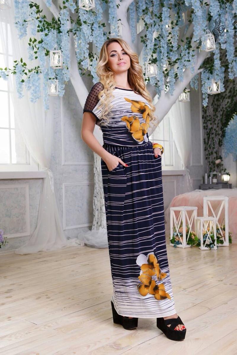 Длинное батальное летнее платье Ирма-2 46-56