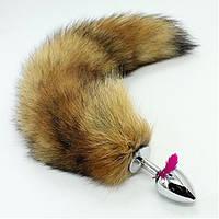 Анальная пробка с рыжим хвостом лисы (3,5 см)