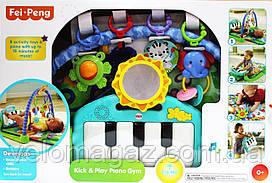 Коврик для малышей 800*490 мм с пианино 988-123, бирюзовый
