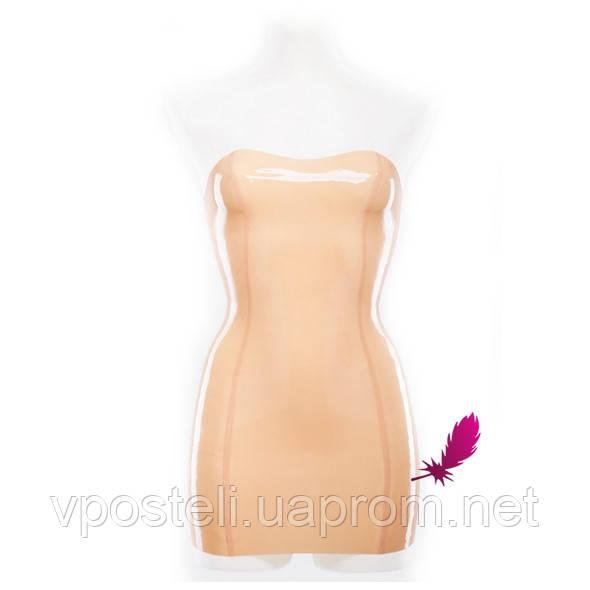 Латексне міні сукня без бретелей