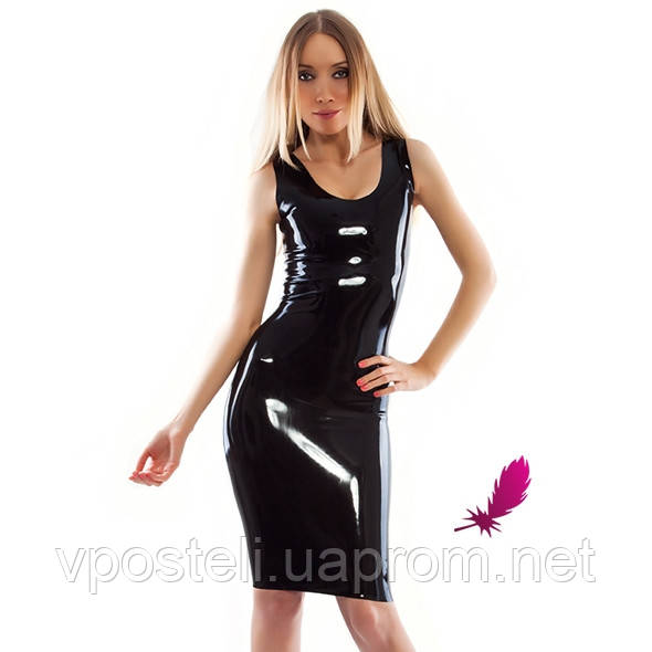 Латексное платье футляр до колен