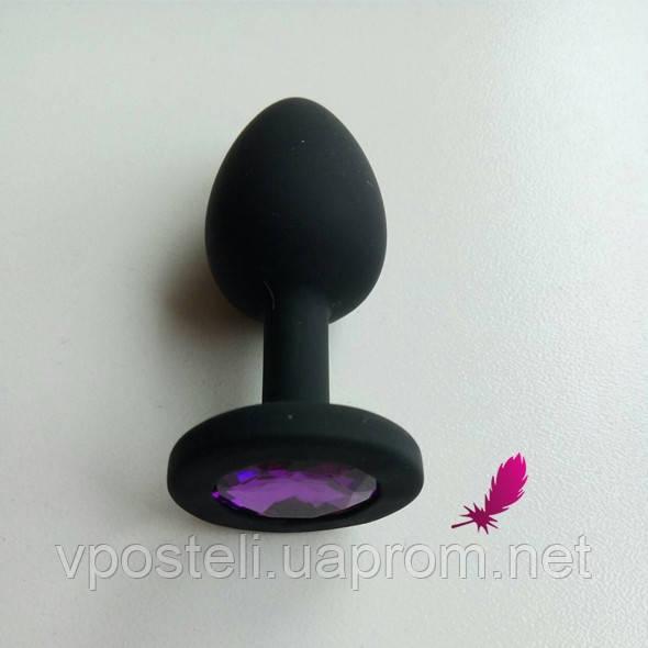 Маленькая силиконовая анальная пробка с фиолетовым кристаллом