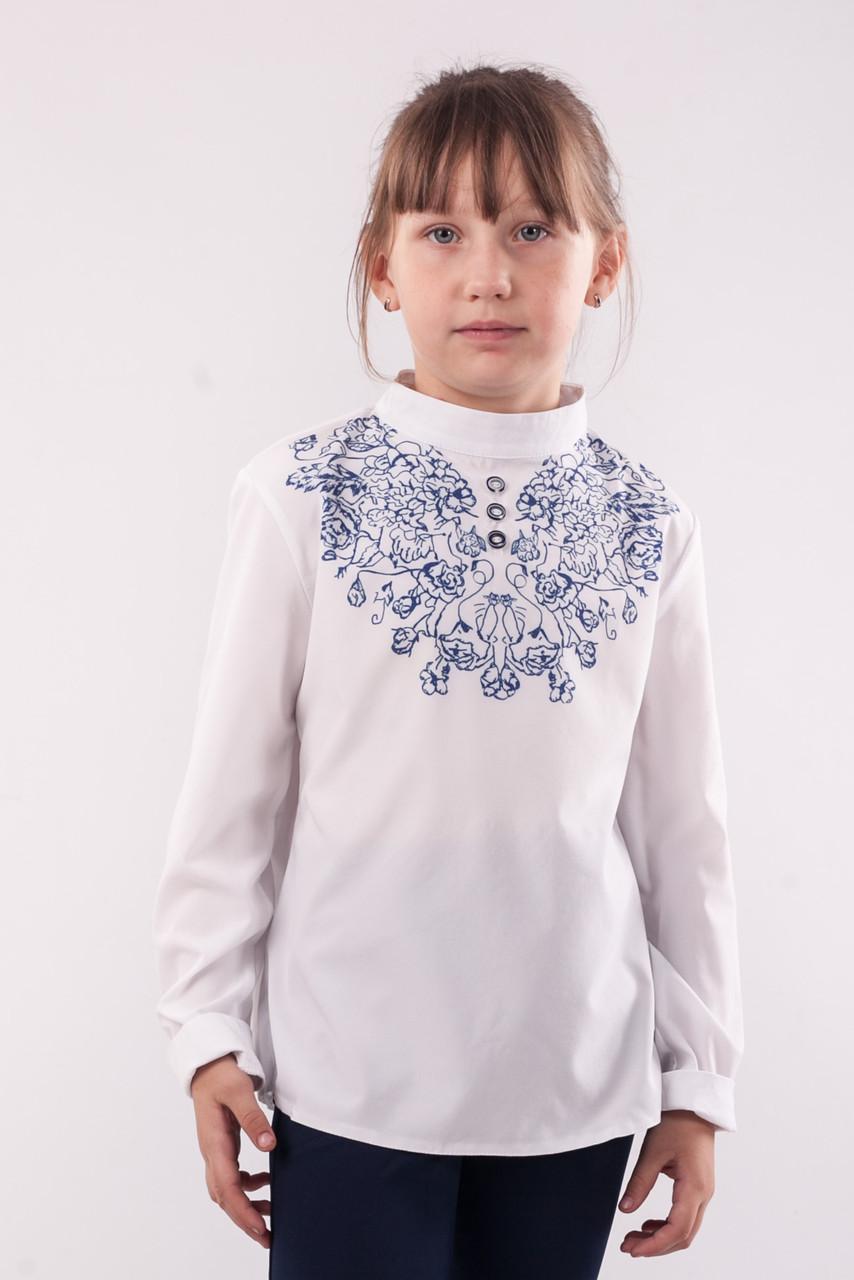 Блузка шкільна біла з малюнком-сублімацією для дівчинки
