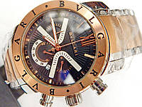 Мужские кварцевые наручные часы Bvlgari Diagono Professional Chronograph на металлическом ремешке