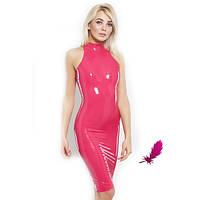 Платье из латекса с воротником-стойкой
