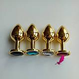 Средняя золотая анальная пробка с кристаллом, фото 3