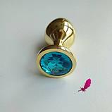 Средняя золотая анальная пробка с кристаллом, фото 5