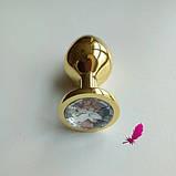 Средняя золотая анальная пробка с кристаллом, фото 6
