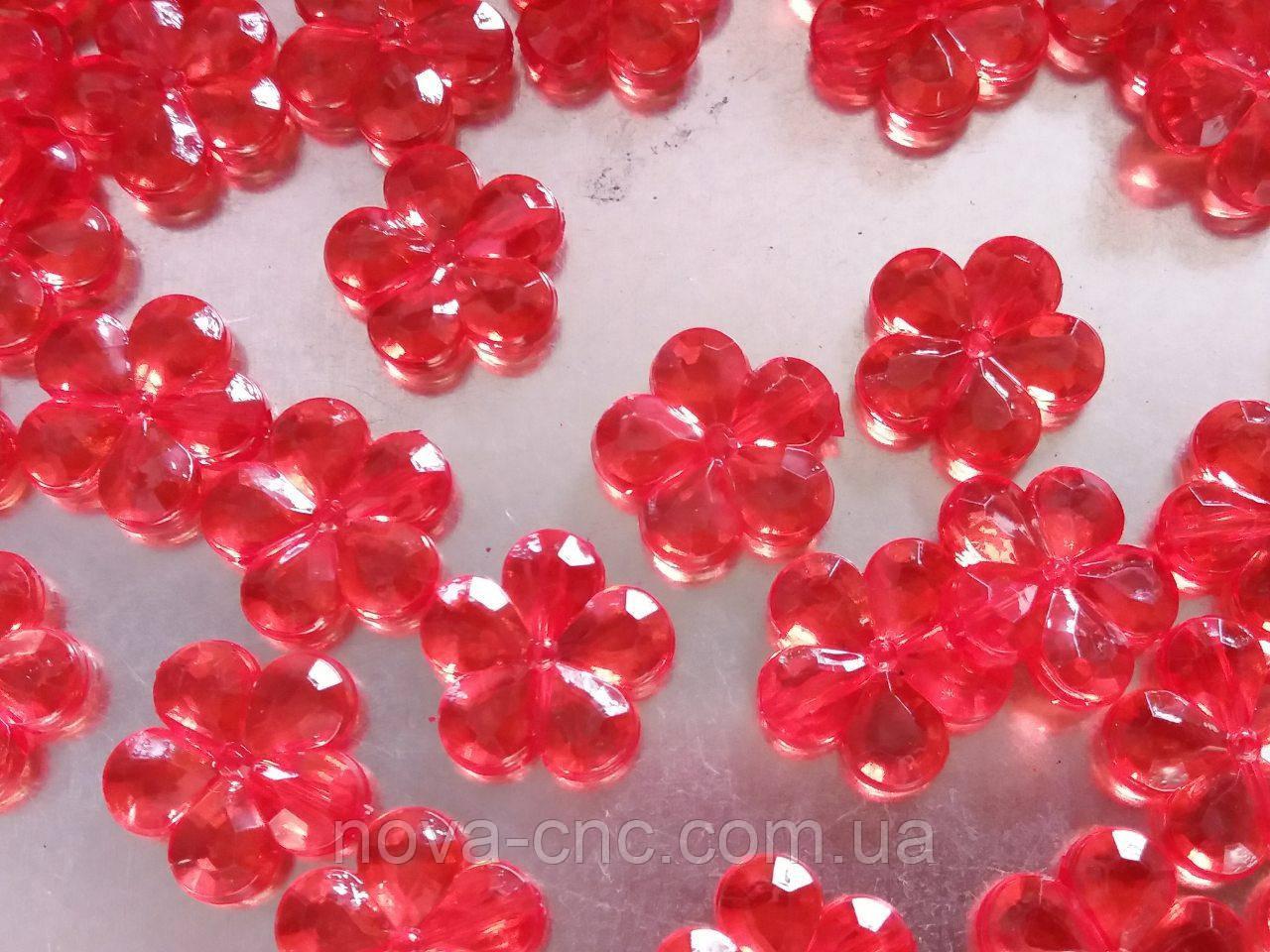 """Бусины акрил """"Цветы"""" красный 15 мм акрил 500 грамм"""