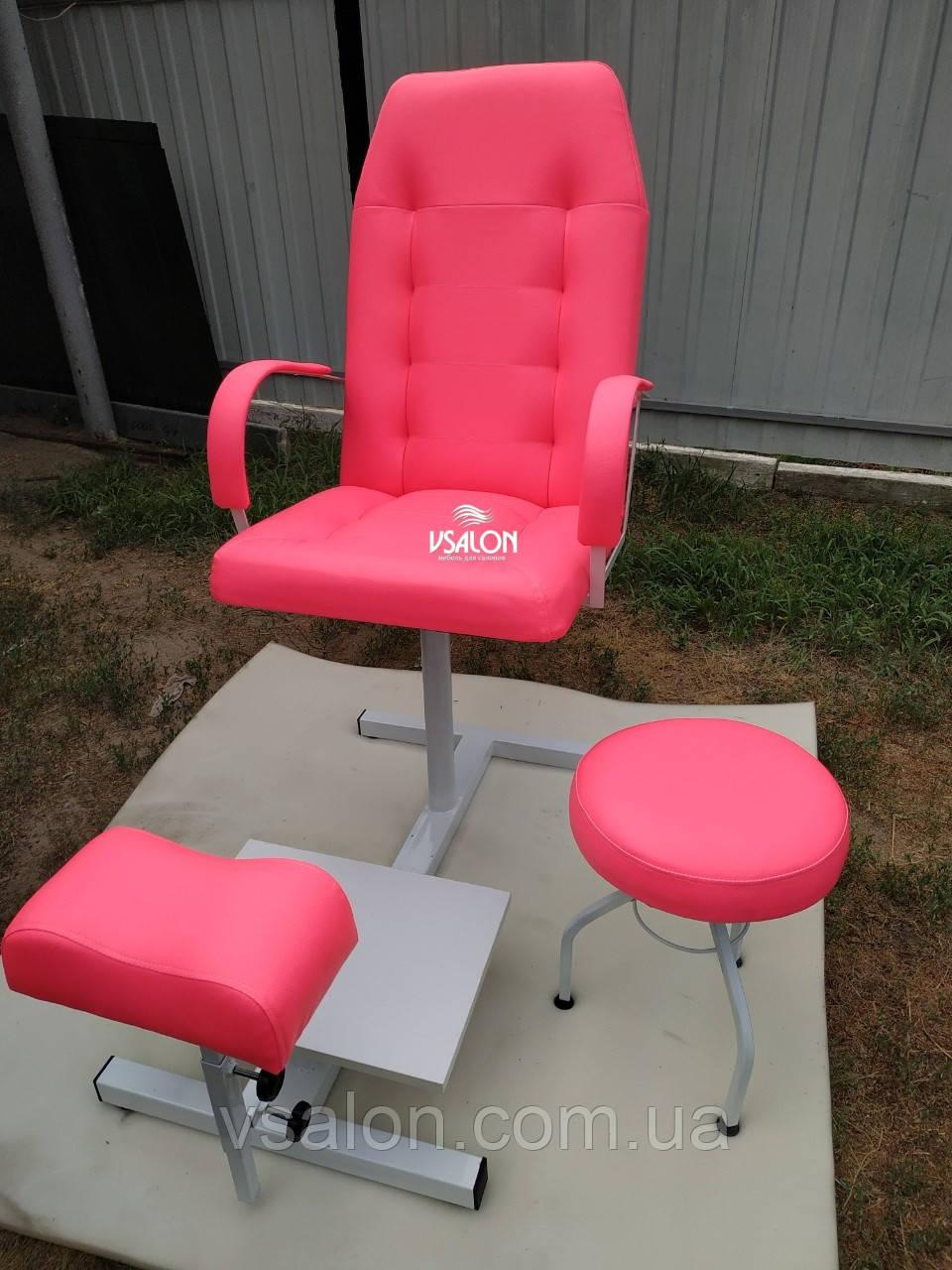 Кресло педикюрное комплект розовый