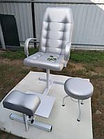 Кресло педикюра, подставка для ноги и стул мастера, комплект в цвете металлик