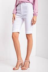 Белые джинсовые шорты SMART удлиненные с манжетами и высокой посадкой
