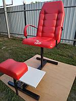 Кресло для педикюра с подставками для ног, цвет красный