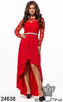 Вечернее красное гипюровое платье ассиметричное