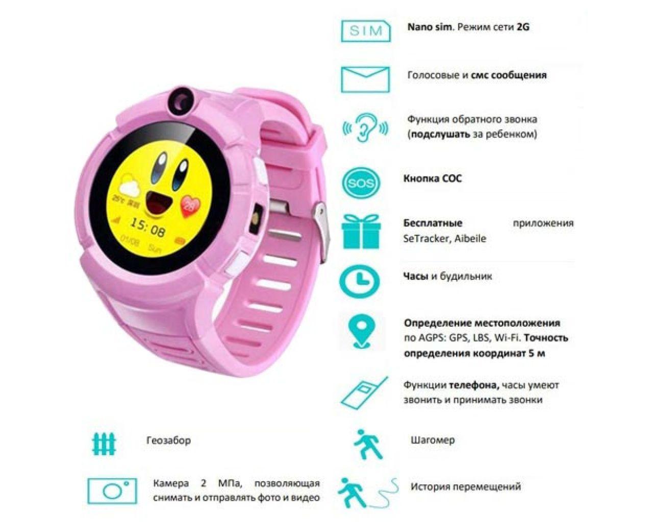 Телефонные часы наручные детские смарт розовые