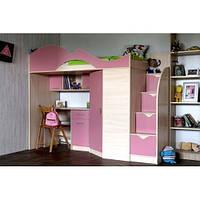 Детская Кровать-чердак с компьютерным столом, шкафом и тумбами КЧО 160