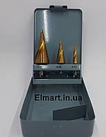 Свердло ступеневу по металу 4-12/4-20/4-32мм конусне набір 3 штуки HSS, фото 1