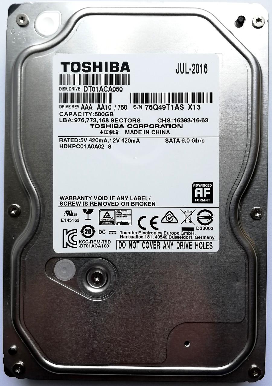 """Жесткий диск для компьютера Toshiba 500GB  7200rpm 32MB (DT01ACA050) 3.5"""" SATA-III Б/У на запчасти"""